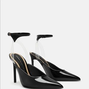 Vinyl high heel shoes sz 9